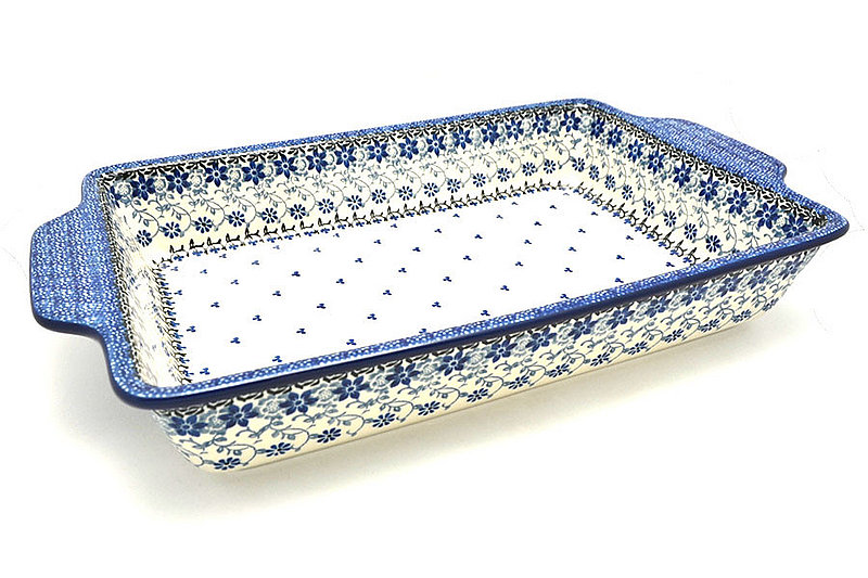 Polish Pottery Baker - Rectangular with Tab Handles - 12 cups - Silver Lace