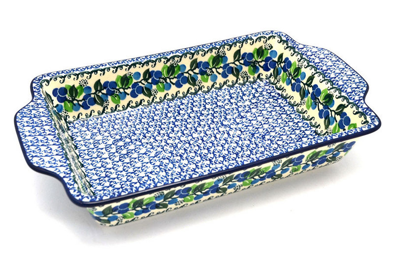 Ceramika Artystyczna Polish Pottery Baker - Rectangular with Tab Handles - 7 cups - Blue Berries A59-1416a (Ceramika Artystyczna)