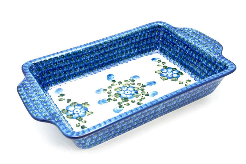Ceramika Artystyczna Polish Pottery Baker - Rectangular with Tab Handles - 7 cups - Blue Poppy A59-163a (Ceramika Artystyczna)