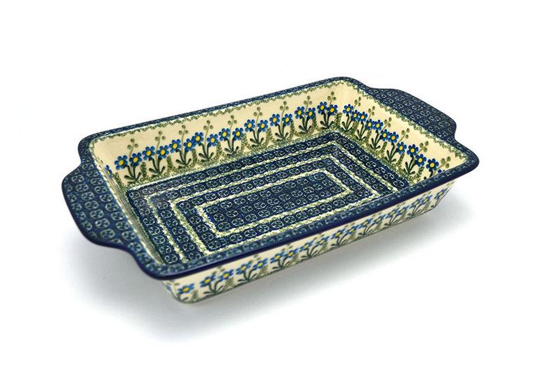 Ceramika Artystyczna Polish Pottery Baker - Rectangular with Tab Handles - 7 cups - Blue Spring Daisy A59-614a (Ceramika Artystyczna)