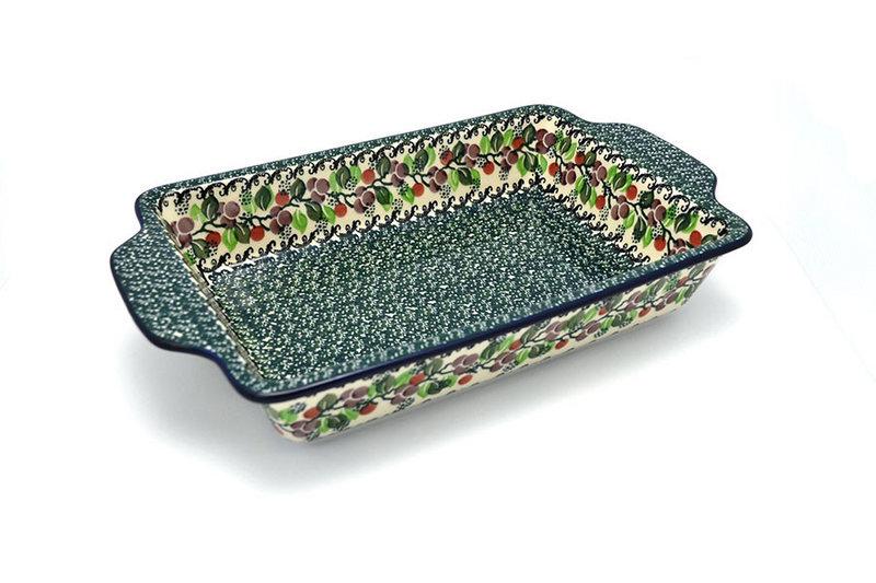 Ceramika Artystyczna Polish Pottery Baker - Rectangular with Tab Handles - 7 cups - Burgundy Berry Green A59-1415a (Ceramika Artystyczna)