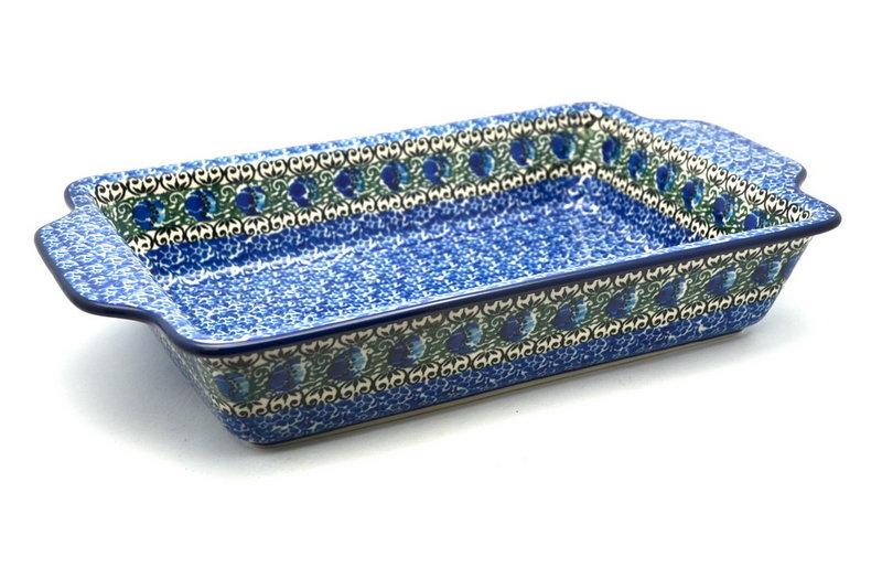 Ceramika Artystyczna Polish Pottery Baker - Rectangular with Tab Handles - 7 cups - Peacock Feather A59-1513a (Ceramika Artystyczna)