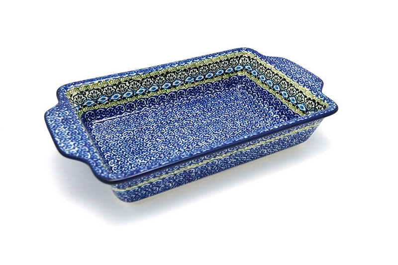 Ceramika Artystyczna Polish Pottery Baker - Rectangular with Tab Handles - 7 cups - Tranquility A59-1858a (Ceramika Artystyczna)