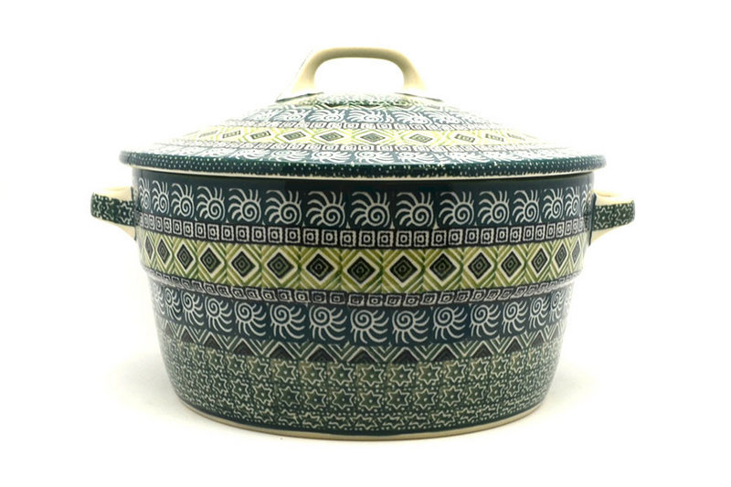 Ceramika Artystyczna Polish Pottery Baker - Round Covered Casserole - Aztec Forest 278-1919q (Ceramika Artystyczna)