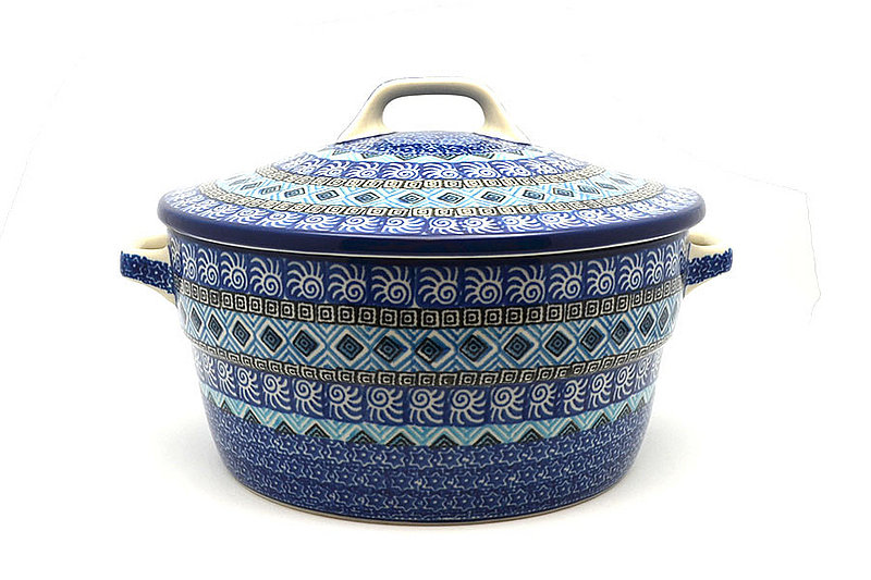 Ceramika Artystyczna Polish Pottery Baker - Round Covered Casserole - Aztec Sky 278-1917a (Ceramika Artystyczna)