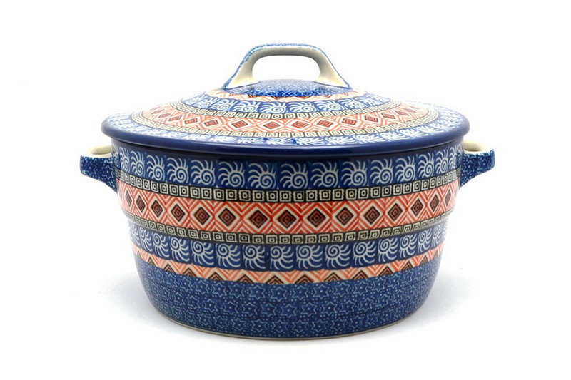 Ceramika Artystyczna Polish Pottery Baker - Round Covered Casserole - Aztec Sun 278-1350a (Ceramika Artystyczna)