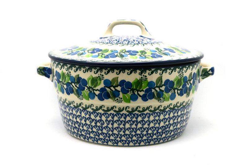 Ceramika Artystyczna Polish Pottery Baker - Round Covered Casserole - Blue Berries 278-1416a (Ceramika Artystyczna)