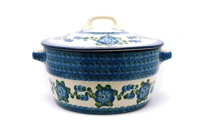 Ceramika Artystyczna Polish Pottery Baker - Round Covered Casserole - Blue Poppy 278-163a (Ceramika Artystyczna)