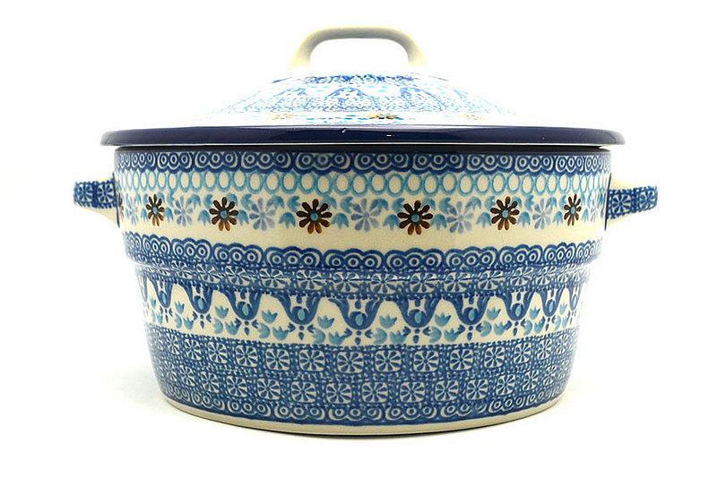 Ceramika Artystyczna Polish Pottery Baker - Round Covered Casserole - Blue Yonder 278-2187a (Ceramika Artystyczna)