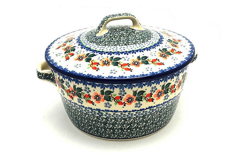 Ceramika Artystyczna Polish Pottery Baker - Round Covered Casserole - Cherry Blossom 278-2103a (Ceramika Artystyczna)