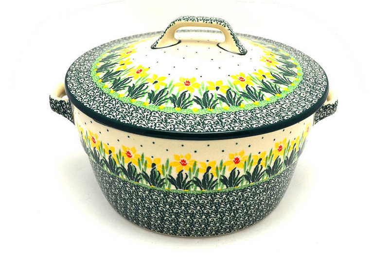 Ceramika Artystyczna Polish Pottery Baker - Round Covered Casserole - Daffodil 278-2122q (Ceramika Artystyczna)