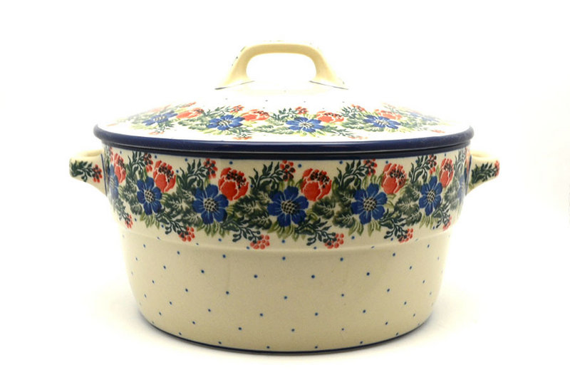Ceramika Artystyczna Polish Pottery Baker - Round Covered Casserole - Garden Party 278-1535a (Ceramika Artystyczna)