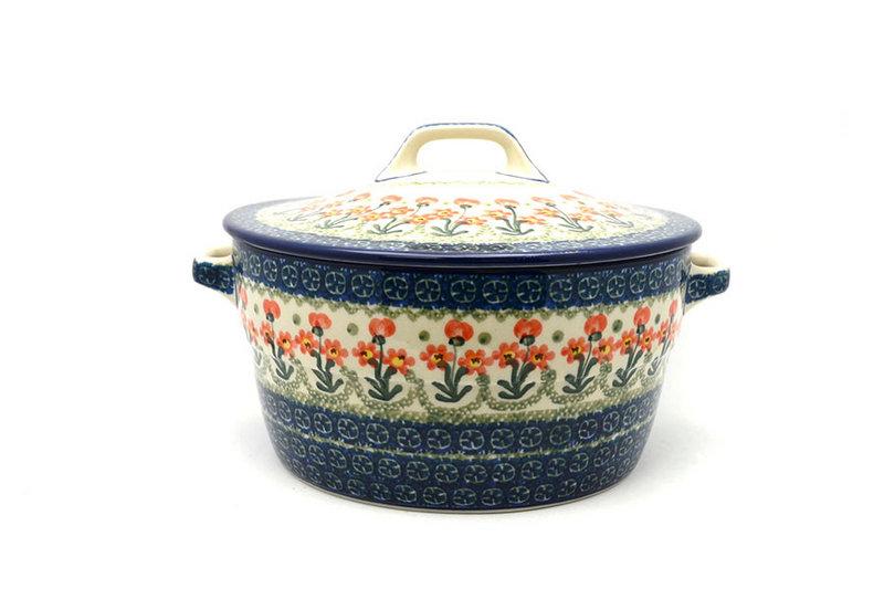 Ceramika Artystyczna Polish Pottery Baker - Round Covered Casserole - Peach Spring Daisy 278-560a (Ceramika Artystyczna)