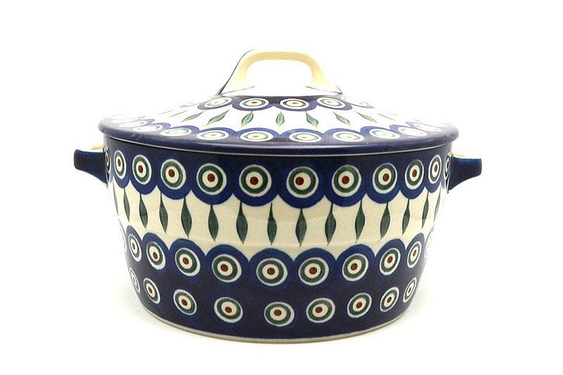 Ceramika Artystyczna Polish Pottery Baker - Round Covered Casserole - Peacock 278-054a (Ceramika Artystyczna)