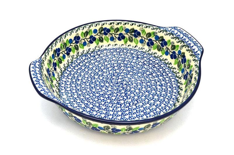 Ceramika Artystyczna Polish Pottery Baker - Round with Grips - Large - Blue Berries 417-1416a (Ceramika Artystyczna)