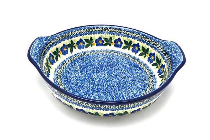Ceramika Artystyczna Polish Pottery Baker - Round with Grips - Large - Blue Pansy 417-1552a (Ceramika Artystyczna)