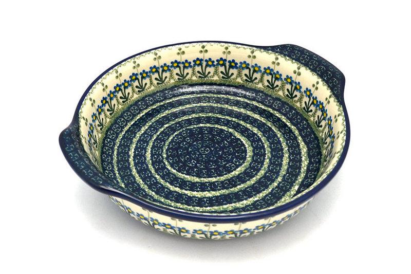 Ceramika Artystyczna Polish Pottery Baker - Round with Grips - Large - Blue Spring Daisy 417-614a (Ceramika Artystyczna)