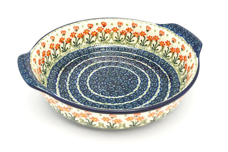Ceramika Artystyczna Polish Pottery Baker - Round with Grips - Large - Peach Spring Daisy 417-560a (Ceramika Artystyczna)