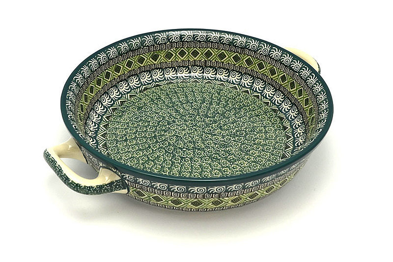 Ceramika Artystyczna Polish Pottery Baker - Round with Handles - Large - Aztec Forest 420-1919q (Ceramika Artystyczna)