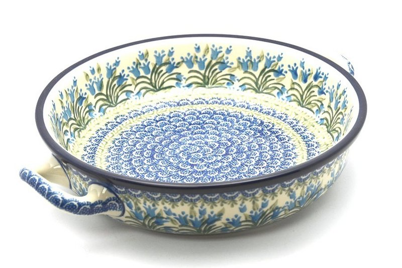 Polish Pottery Baker - Round with Handles - Large - Blue Bells