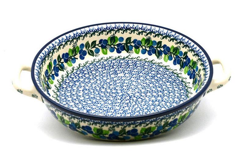 Ceramika Artystyczna Polish Pottery Baker - Round with Handles - Large - Blue Berries 420-1416a (Ceramika Artystyczna)