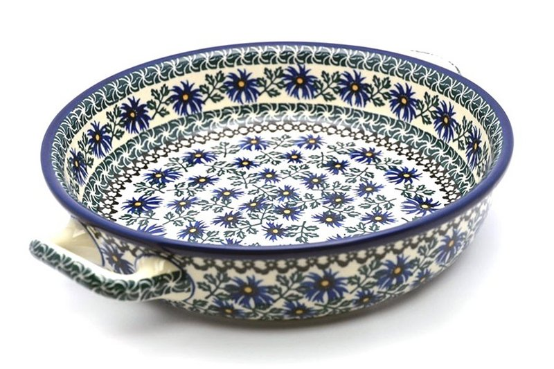 Polish Pottery Baker - Round with Handles - Large - Blue Chicory