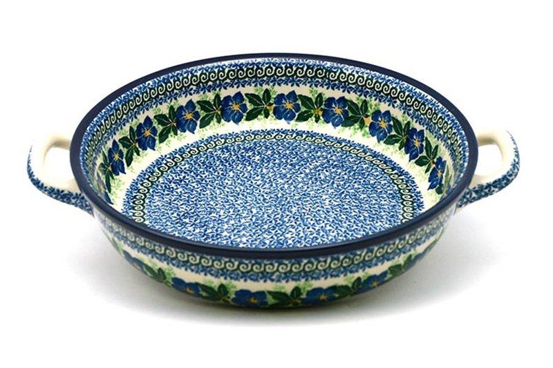 Ceramika Artystyczna Polish Pottery Baker - Round with Handles - Large - Blue Pansy 420-1552a (Ceramika Artystyczna)