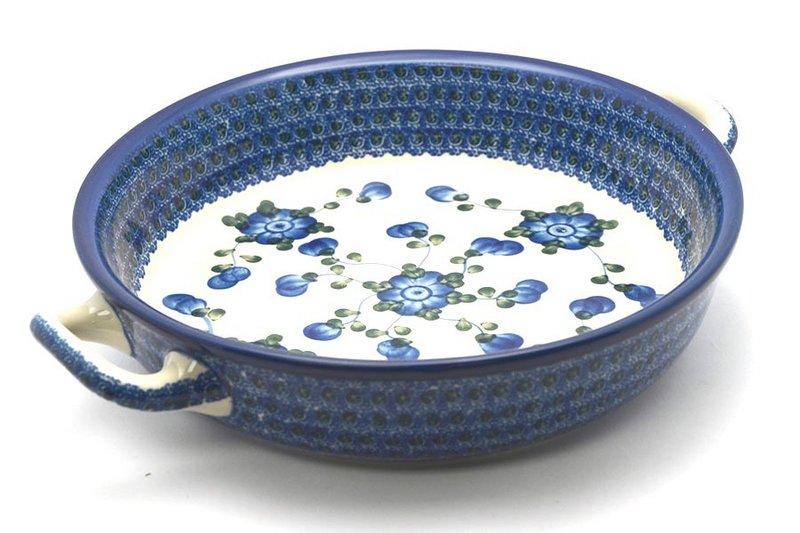 Ceramika Artystyczna Polish Pottery Baker - Round with Handles - Large - Blue Poppy 420-163a (Ceramika Artystyczna)