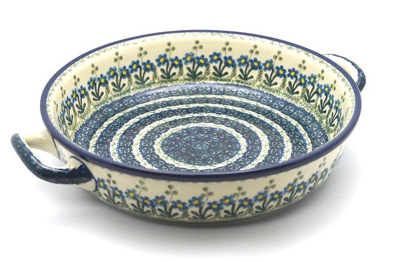 Ceramika Artystyczna Polish Pottery Baker - Round with Handles - Large - Blue Spring Daisy 420-614a (Ceramika Artystyczna)
