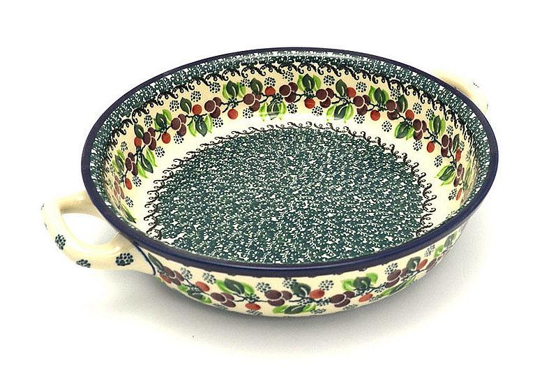 Ceramika Artystyczna Polish Pottery Baker - Round with Handles - Large - Burgundy Berry Green 420-1415a (Ceramika Artystyczna)