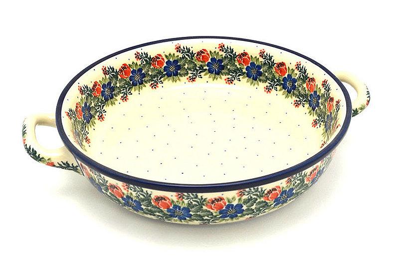 Ceramika Artystyczna Polish Pottery Baker - Round with Handles - Large - Garden Party 420-1535a (Ceramika Artystyczna)