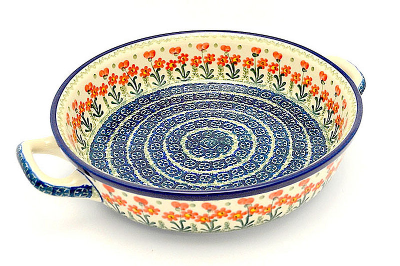 Polish Pottery Baker - Round with Handles - Large - Peach Spring Daisy