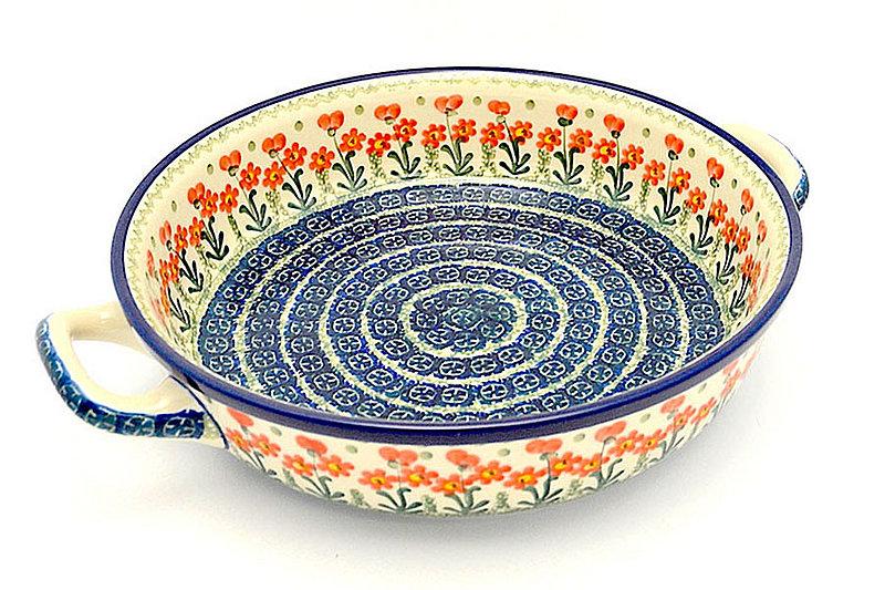 Ceramika Artystyczna Polish Pottery Baker - Round with Handles - Large - Peach Spring Daisy 420-560a (Ceramika Artystyczna)