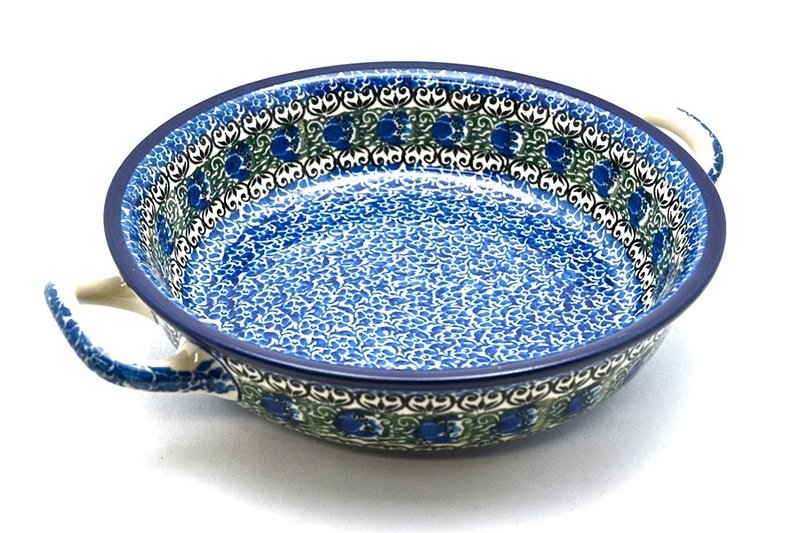 Ceramika Artystyczna Polish Pottery Baker - Round with Handles - Large - Peacock Feather 420-1513a (Ceramika Artystyczna)