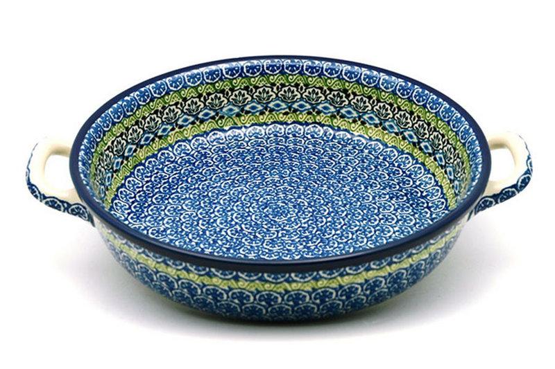 Ceramika Artystyczna Polish Pottery Baker - Round with Handles - Large - Tranquility 420-1858a (Ceramika Artystyczna)