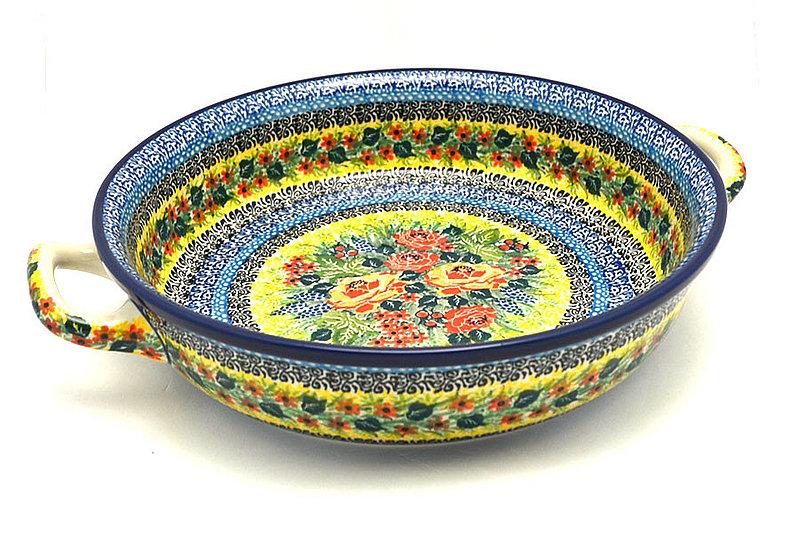 Ceramika Artystyczna Polish Pottery Baker - Round with Handles - Large - Unikat Signature U4779 420-U4779 (Ceramika Artystyczna)
