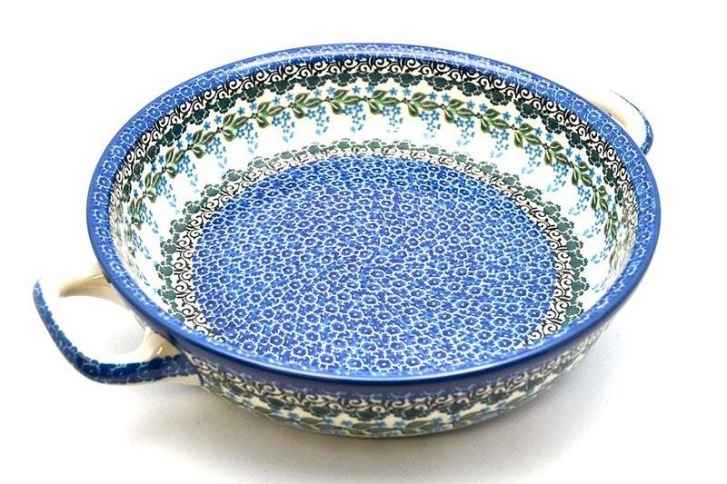Ceramika Artystyczna Polish Pottery Baker - Round with Handles - Large - Wisteria 420-1473a (Ceramika Artystyczna)