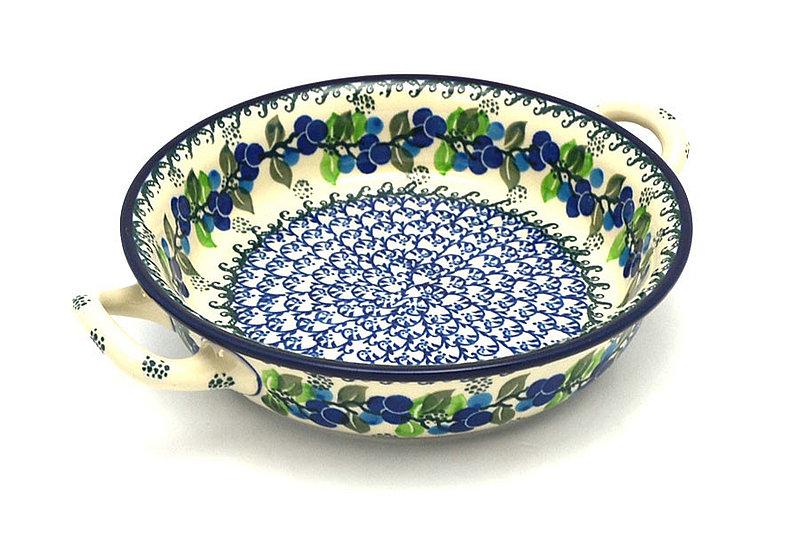 Ceramika Artystyczna Polish Pottery Baker - Round with Handles - Medium - Blue Berries 419-1416a (Ceramika Artystyczna)