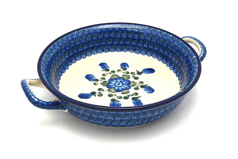 Ceramika Artystyczna Polish Pottery Baker - Round with Handles - Medium - Blue Poppy 419-163a (Ceramika Artystyczna)