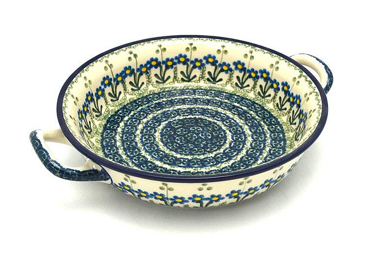 Ceramika Artystyczna Polish Pottery Baker - Round with Handles - Medium - Blue Spring Daisy 419-614a (Ceramika Artystyczna)