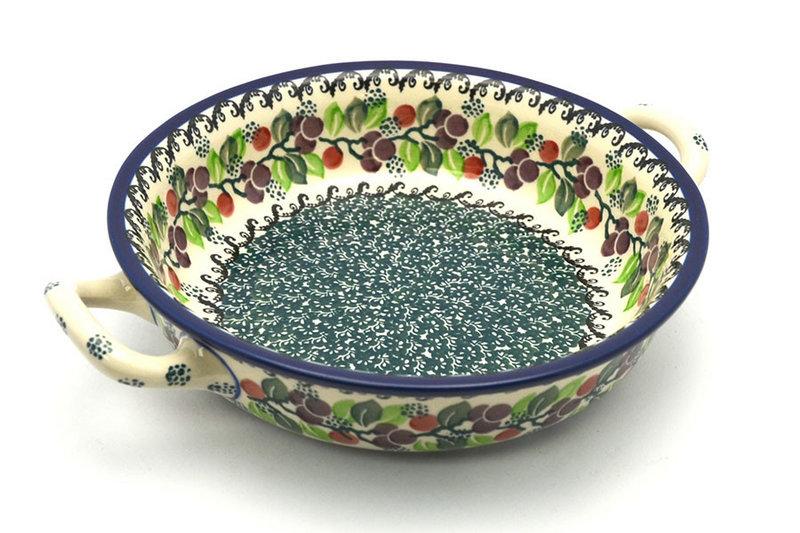 Ceramika Artystyczna Polish Pottery Baker - Round with Handles - Medium - Burgundy Berry Green 419-1415a (Ceramika Artystyczna)