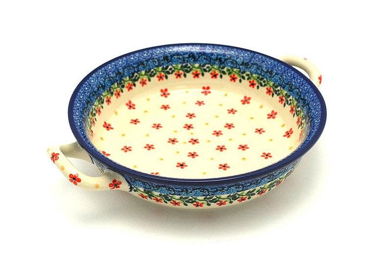 Ceramika Artystyczna Polish Pottery Baker - Round with Handles - Medium - Cherry Jubilee 419-2284a (Ceramika Artystyczna)