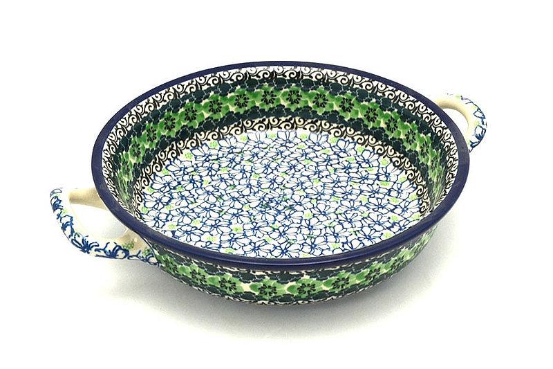 Ceramika Artystyczna Polish Pottery Baker - Round with Handles - Medium - Kiwi 419-1479a (Ceramika Artystyczna)