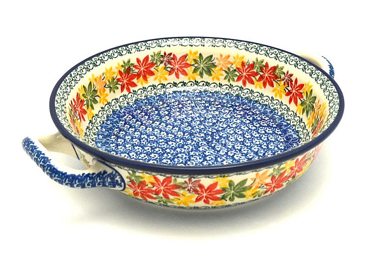 Ceramika Artystyczna Polish Pottery Baker - Round with Handles - Medium - Maple Harvest 419-2533a (Ceramika Artystyczna)
