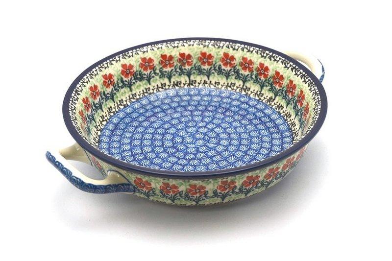 Ceramika Artystyczna Polish Pottery Baker - Round with Handles - Medium - Maraschino 419-1916a (Ceramika Artystyczna)