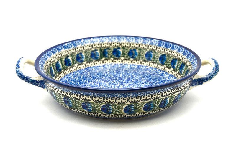 Ceramika Artystyczna Polish Pottery Baker - Round with Handles - Medium - Peacock Feather 419-1513a (Ceramika Artystyczna)