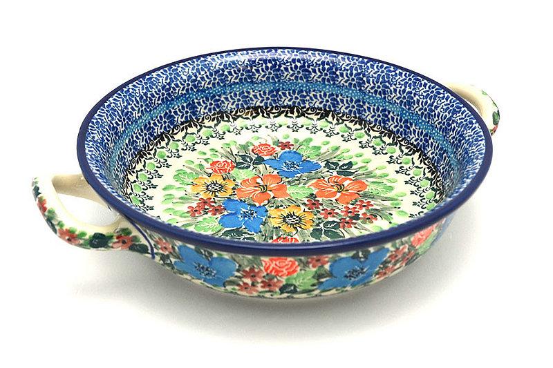 Ceramika Artystyczna Polish Pottery Baker - Round with Handles - Medium - Unikat Signature - U3347 419-U3347 (Ceramika Artystyczna)