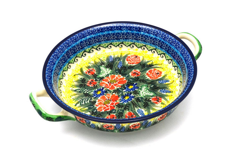 Ceramika Artystyczna Polish Pottery Baker - Round with Handles - Medium - Unikat Signature - U4610 419-U4610 (Ceramika Artystyczna)