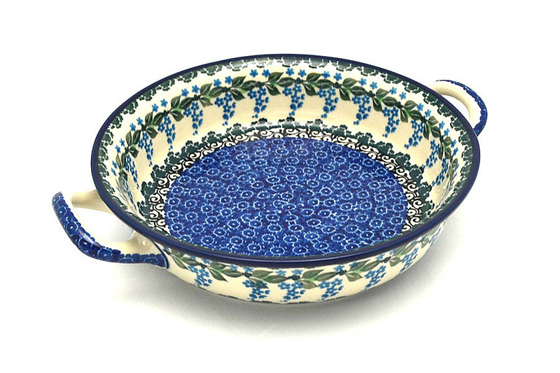 Ceramika Artystyczna Polish Pottery Baker - Round with Handles - Medium - Wisteria 419-1473a (Ceramika Artystyczna)