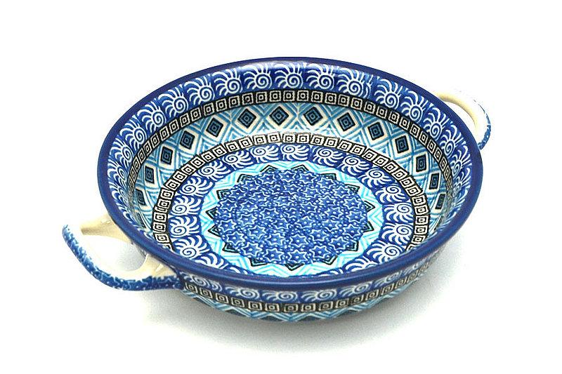 Ceramika Artystyczna Polish Pottery Baker - Round with Handles - Small - Aztec Sky C40-1917a (Ceramika Artystyczna)